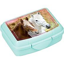 Die Spiegelburg 14729, lunch box/contenitore porta cibo - colazione e merenda a scuola - adatto per bambini - serie: Gli amici dei cavalli - 2 cavalli cavalcando