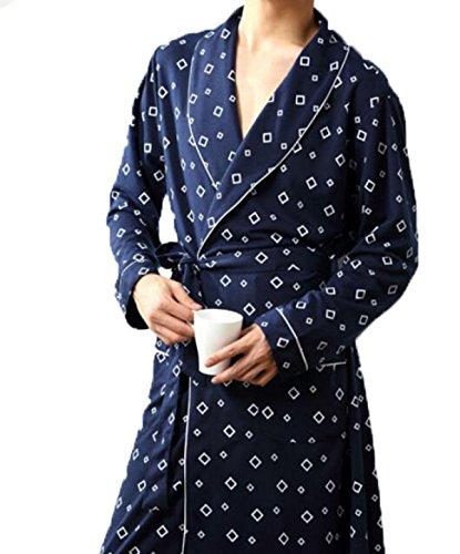 Frühling Und Herbst Der Männer Mit Langen Ärmeln Baumwolle Stricken Pyjamas Nachthemd Zweiseitige Dicke Bademänteln Tracksuit Große Yards,Blue-L (Stricken Baumwolle Nachthemd)