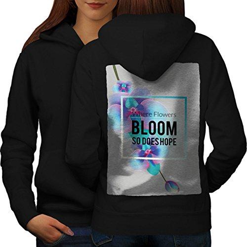Fleur Floraison Femme S-2XL Sweat à capuche le dos | Wellcoda Noir