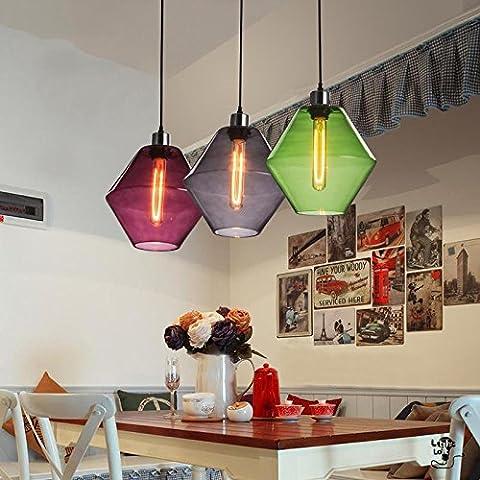 ZJM New Nordic restaurant bar vintage lustre en verre de personnalité créatrice simple lustre abat-jour Cafe 250*240mm , jours blue