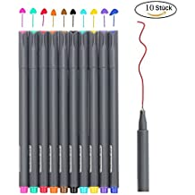 Fineliner Farbe Stifte Set, SmileStar 10 Fine Liner Zeichnung Stift, 0.38mm Farben Fine Point Spitze Buntstifte für Bullet Journal, Kalender, Planer, Notizen und Malbuch …