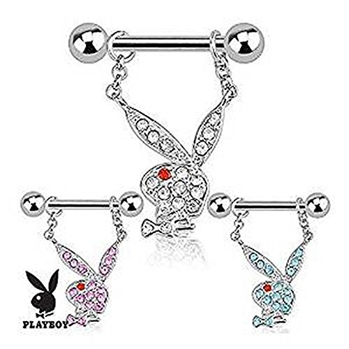 1 x Pink Crystal verkrustete offizielle lizenzierte Playboy Bunny baumeln Charm Nipple Bar Piercing Dicke: 1,2mm Länge: 11mm Material: Chirurgischer (Pink Bunny Kit Kostüme)