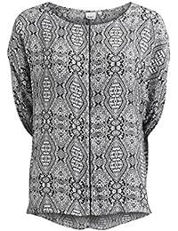 Object Haik Damen Tunika mit Muster und Flügel-Ärmeln | Wasserfall seitlich Paisley-Muster | Kurzarm-Bluse elegant Monochrom