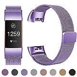 HUMENN für Fitbit Charge 3 Armband, Milanese Ersatz Fitness Armbänder Voll Einstellbare Metall Wristband mit Starkem Magneten Sperren für Fitbit Charge3, Klein Lavendel