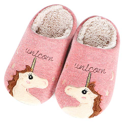 Lorfancy Unicorn Slippers for Women Men Girls Kids Family Fleece Indoor Fuzzy House Shoes Slippers Winter Accessories
