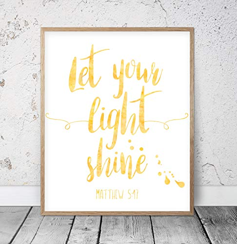 Scott397House Wood Framed Sign Let Your Light Shine Matthew 517 Bible Verse Printable Wooden Wall Art Christian Gifts Nursery Bible Quotes Scripture Prints 8x12 Inch