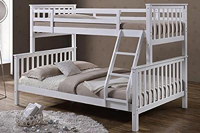 'Oscar' White Solid Pine Wood Triple Sleeper Bunk Bed- Single & Double by 'Sleep Design' - cheap UK light store.