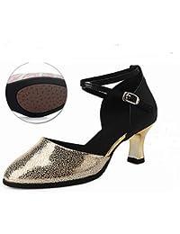 T.T-Q Zapatillas de Baile para Mujer Satén Ballet Suela Entera Talón Plano Rosa Plateado Sandalias Latinas Salsa...