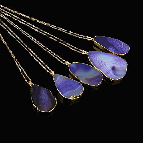 Mingfa Lange Pullover-Kette Kristall-Quarz-Anhänger-Halskette Naturstein-Schmuck für Damen Teen-Mädchen 1 Stück modisch violett