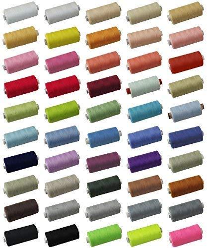 DIE NÄHZWERGE Qualitäts-Nähgarn Stärke: 120, je 1.000 Meter Rolle, 45 Farben, 100% Polyester | Allesnäher Universalgarn zum Hand- & Maschinennähen Overlock | EU-Qualität ÖKOTEX (1049: Rauchblau, 1) -
