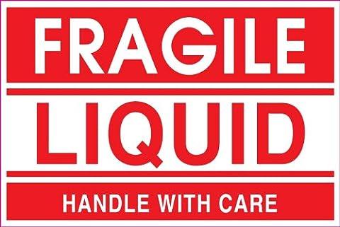 Ace Label vorgedruckte Fragile Flüssigkeit Shipping Label, 2 x 3 Zoll, Rot, Rolle mit 500 (23007F)
