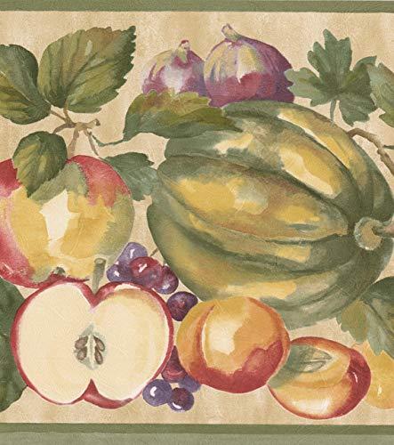 RetroArt Faux Farbe Apfel Trauben Ananas stammt Orange Vintage Beige Tapete Grenze Retro-Design, Roll-15' x 9'' - Ananas Grenze