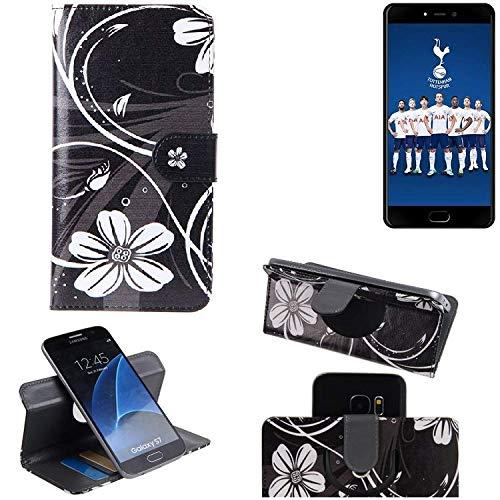 K-S-Trade® Schutzhülle Für Leagoo T5C Hülle 360° Wallet Case Schutz Hülle ''Flowers'' Smartphone Flip Cover Flipstyle Tasche Handyhülle Schwarz-weiß 1x