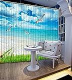 Chlwx Coole Mode Strand Blackout 3D-Vorhang Für Fenster Modernes Schlafzimmer Gardinen Foto Gedruckt Gardinen 260cmX400cm 2 Pieces