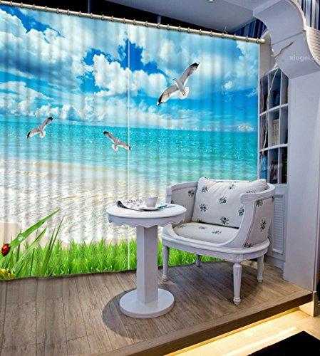Chlwx Coole Mode Strand Blackout 3D Vorhang Für Fenster Modernes Schlafzimmer  Gardinen Foto Gedruckt Gardinen