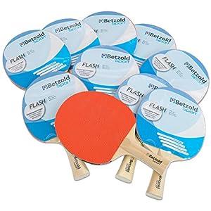 Betzold 34437 – Tischtennisschläger Flash, 10er Set, Sport, Konkaver Griff – Tischtennis-Set Gruppenset Schule Schläger Kinder Schüler Training