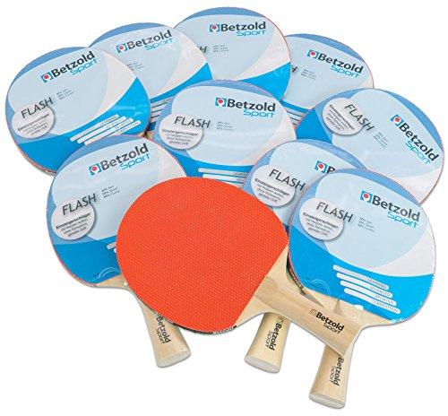 Betzold 34437 - Tischtennisschläger Flash, 10er Set, Sport, Konkaver Griff - Tischtennis-Set Gruppenset Schule Schläger Kinder Schüler Training
