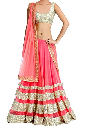 Lehenga (Om Fashion Women\'s Net Pink Free Size Lehenga Chaniya Choli)