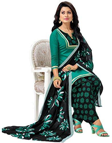 Jevi Prints Green & Black Unstitched Cotton Floral Printed Punjabi Suit Dupatta with Mangalgiri Border (GP-115)