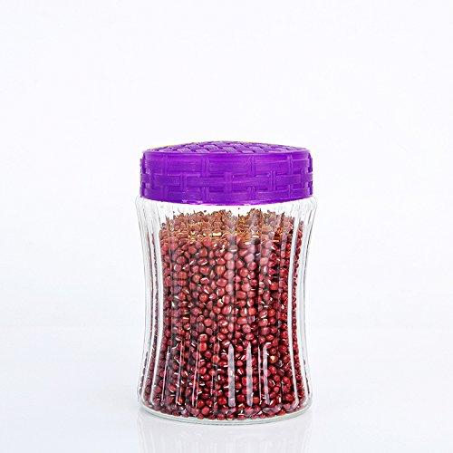 AISSION KITCHEN Storage Jar/Container/Aufbewahrungsboxen, Glas Küche Kanister verschlossenen Dosen Snacks Mutter am Kraftstofftank Tank Korn Vorratsbehälter, 1300 ml - lila (Kanister-sets-lila Küche)