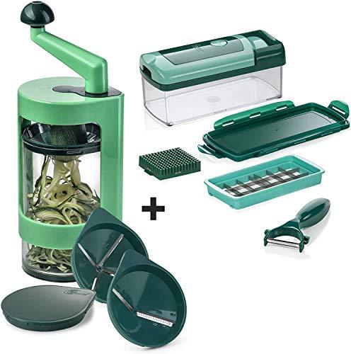 Super Julietti Spiralschneider inkl. Nicer Dicer | Gemüsespaghetti & Gemüsenudeln | Kartoffel/Zucchini/Gemüse/Spirelli Schneider | Küchen Gadget