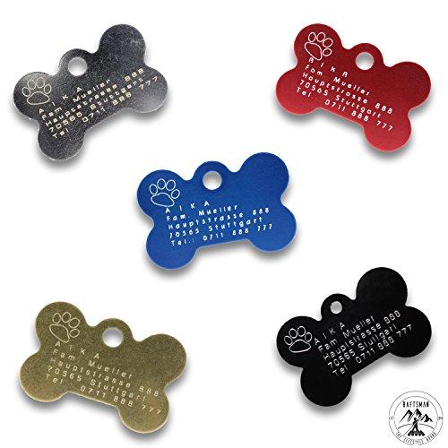 Raftsman Hundemarke mit persönlicher Gravur inkl. Schlüsselring - ID Tag - Adressanhänger - Adressschild - Adressmarke