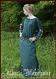 Battle-Merchant Wunderschönes Mittelalterkleid Glynis mit Glocken, Larpkleid, Wikingerkleid Farbe grün