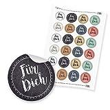 """24 x itenga Sticker Aufkleber Etikett """"Für Dich Vintage Papier Mix"""" unlackiert (Motiv 78)"""