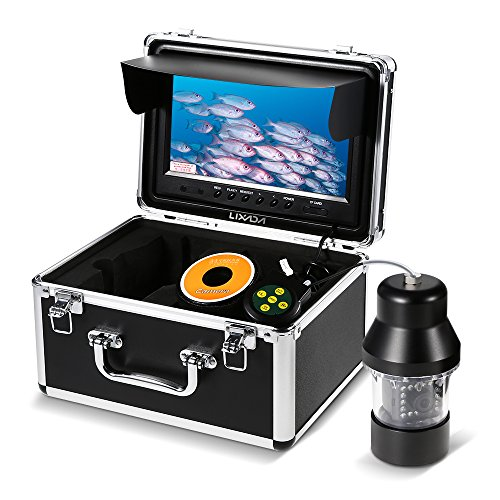 Lixada Fischfinder Professionelle Unterwasserfischen Videokamera 9 Zoll Große Farbdisplay Wasserdicht 18 LEDs 360 Grad Kamera