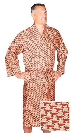 Robe de Chambre en Soie - Teddy Bear Bordeaux / Or - Homme - Peignoir (M)