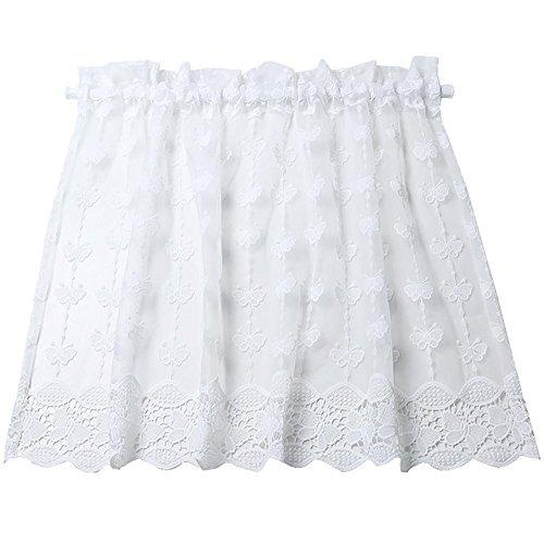 TINE HOME CURTAINS Roman Vorhang, Weiß, gesticktes Vorhang Tüll-Vorhang, Kochen, kleine semi-Shade-Dekoration für Zuhause (150x 55cm), mit Tasche, 1Stück -