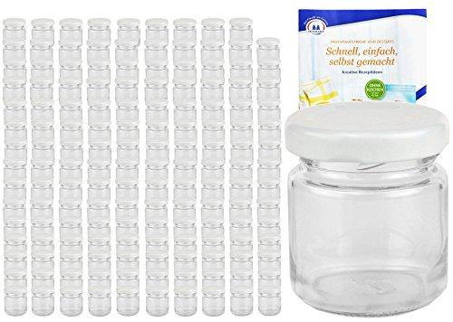 MamboCat 200er Set Rundgläser 53 ml Deckelfarbe weiß TO 43 inkl. Diamant Gelierzauber Rezeptheft, Einmachgläser, Einkochgläser, Vorratsgläser, Mini Sturzgläser, Obstgläser, Portionsgläser, Gläser