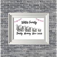 Personalised Family Elephants Print