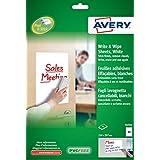 Avery España 70701 - Pack de 4 hojas para pizarra borrables A4, 210 x 297 mm