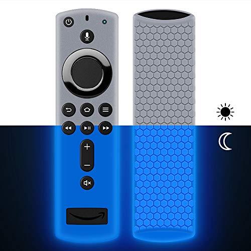 Schutzhülle für Fire TV Stick 4K / 4K Ultra HD mit der Neuen Alexa-Sprachfernbedienung (2.Gen), Flexibel Leichte rutschfeste Stoßfeste Silikon Fernbedienung Silikonhülle Cover Hülle (Nightglow Blue)
