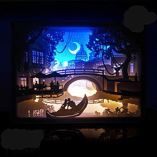 GQNLY 3D Schatten Papierlaternen, Liebe Venedig LED Nachttischlampe USB Angetriebenes Nachtlicht für Schlafzimmer Wohnzimmer Café Tee Haus Geschenk Dekoration