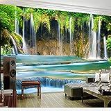 Kuamai Benutzerdefinierte Große Tapete 3D Foto Wandbild Wasser Reichtum Wasserfall Stereo Landschaft Wohnzimmer Hintergrund Hintergrundbild-200X140Cm