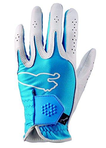 Puma Golf Guanti Uomo prestazioni 2013, palmo in pelle Cabretta palmo e lycra Molded Tab, chiusura in velcro, Logo Puma, Uomo, Vivid Blue, M-L (55-57cm)