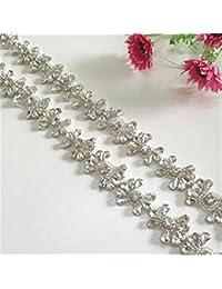 TRLYC - Cinta para cinturones de vestidos de boda, diseño de brillantes de cristal de plata