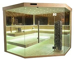 sauna komplett sauna saunakabine ecksauna massivholz traditionelle sauna ts 4064 m 200 200 210. Black Bedroom Furniture Sets. Home Design Ideas