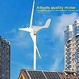 500W Generatore Eolico, 12V Wind Turbine Impianto eolic in in lega di alluminio Per Basso Vento Domestica Pale Eoliche, bianco