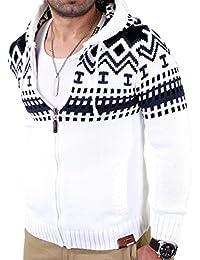 Reslad Herren Grobstrick Norweger Pullover Winter Strickjacke Kapuzenpullover RS-3104