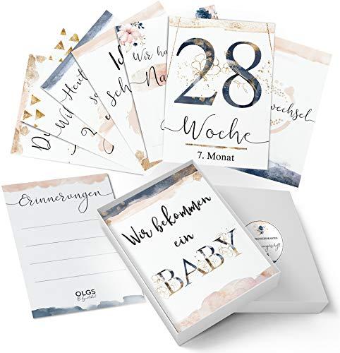 40+1 Schwangerschaft Meilensteinkarten Golden Glamour Splash schöne Geschenkidee zur Geburt, werdende Mutter, Babyparty Milestone Cards Meilenstein Karten Geschenkset + Geschenkbox - Ich bin Schwanger