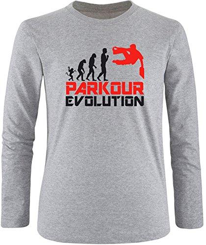 EZYshirt® Parkour Evolution Herren Longsleeve Grau/Schwarz/Rot