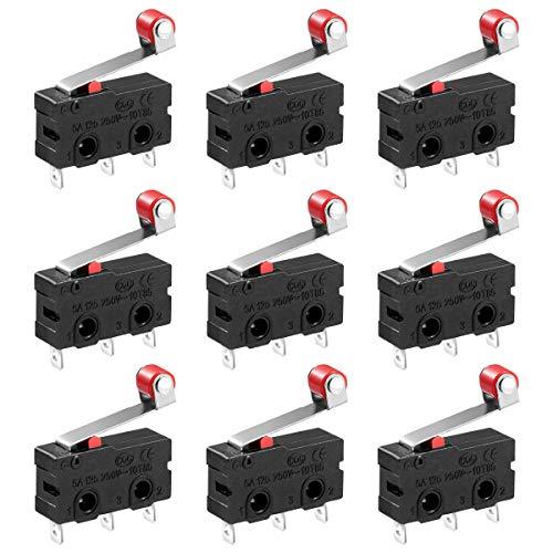 UEETEK 10 stücke 250 V 5A SPDT 1NO 1NC Momentary Scharnier Rollenhebel Mikroschalter 3 Pins -