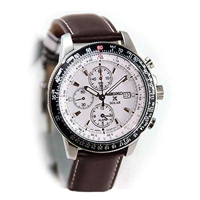 Seiko SSC013P1 - Reloj cronógrafo de caballero de cuarzo con correa de piel marrón (alarma, cronómetro, solar) - sumergible a 100 metros