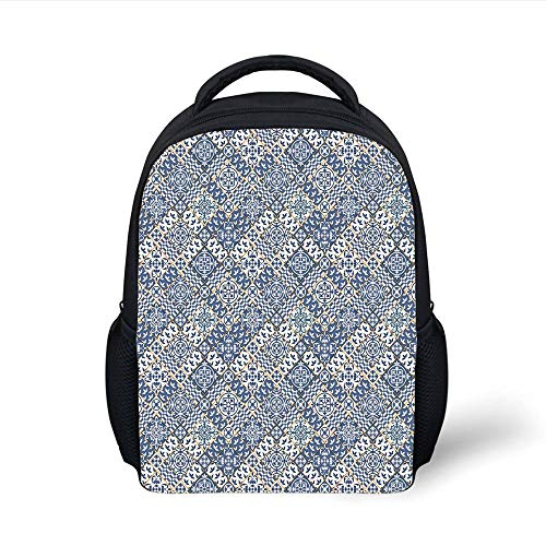 Kids School Backpack Moroccan,Squares and Rectangles Oriental Compositions Floral Arrangement Geometric Decorative,Blue Orange White Plain Bookbag Travel Daypack