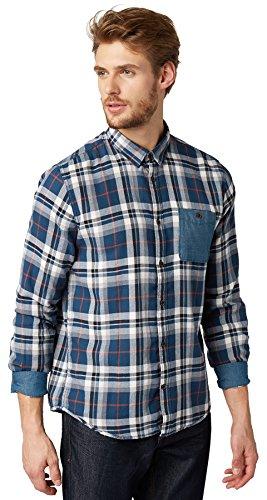 TOM TAILOR Herren Regular Fit Freizeit Hemd Ray Diamond Dobby Check Shirt, Gr. Medium (Herstellergröße: M), Blau (Perfect Even Blue 6883) -