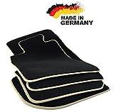 Fußmatten 3er E90 E91 Premium Velours SCHWARZ Hochwertige Beige Umrandung Original Qualität Automatten