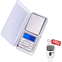FreshDcart Mini Pocket Weight Scale Digital Jewellery/Chem/Kitchen Small Weighing Machine with Auto Calibration, Tare Full Capacity, Operational Temp 10-30 Degree (200/0.01 g, Silver)